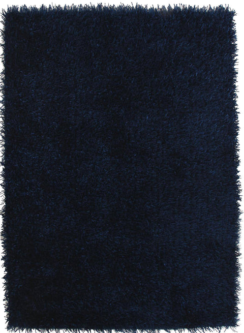 Vagas Metallic Thick, Thin Shag Rug Dark Blue