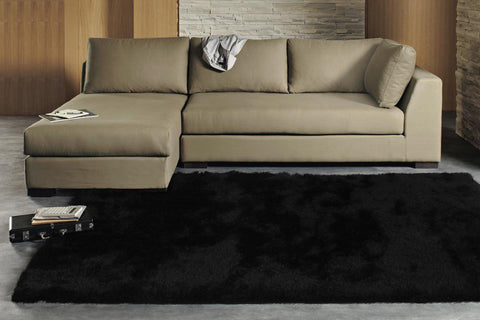 Finland Plush Luxury Shag Rug Jet Black