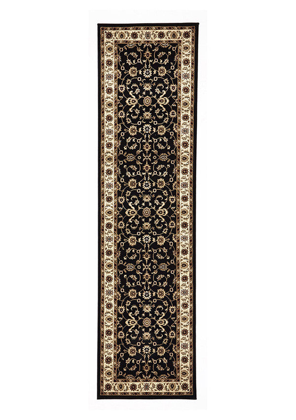 Shiraz Classic Runner Rug Black with Ivory Border