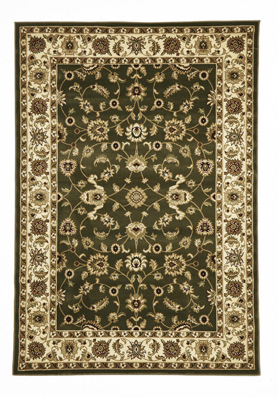 Shiraz Classic Rug Green with Ivory Border