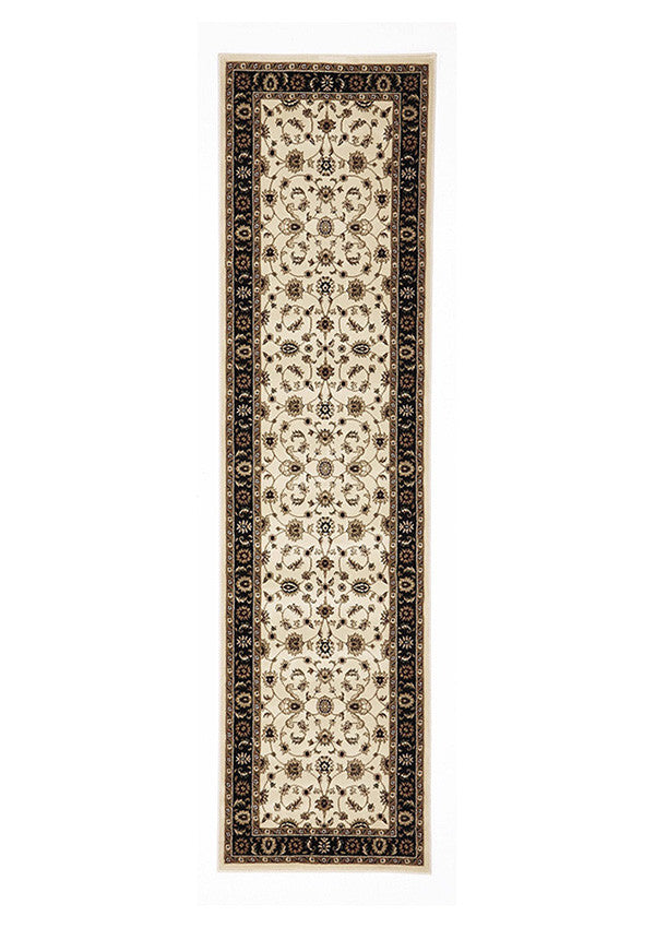 Shiraz Classic Runner Rug Ivory with Black Border