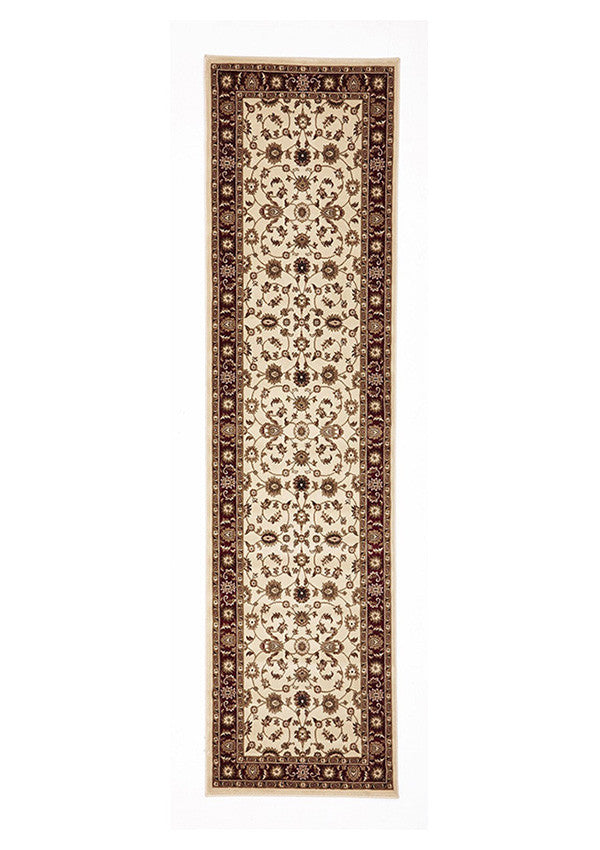 Shiraz Classic Runner Rug Ivory with Red Border
