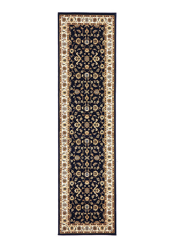 Shiraz Classic Runner Rug Navy with Ivory Border
