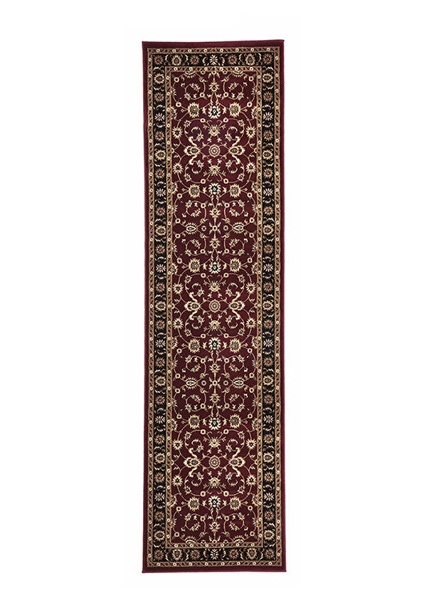 Shiraz Classic Runner Rug Red with Black Border