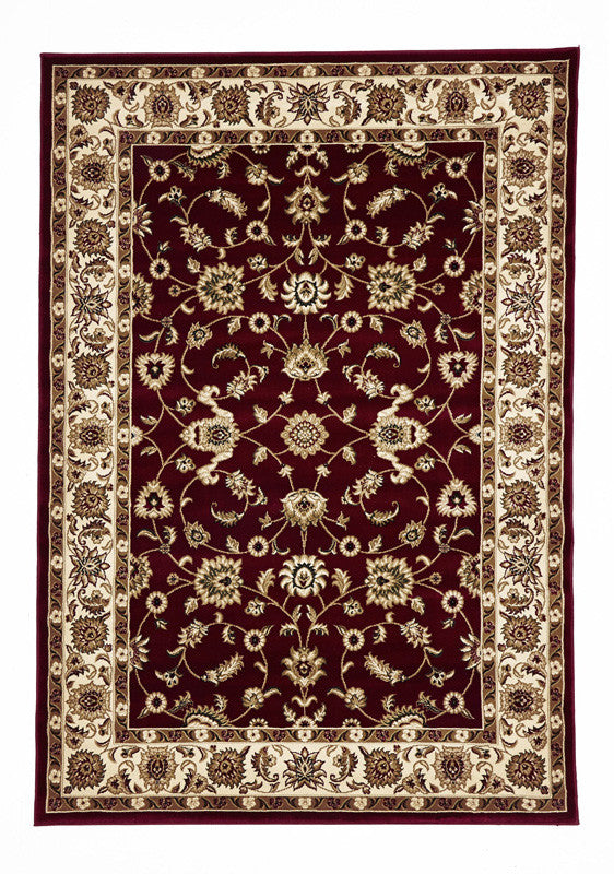 Shiraz Classic Rug Red with Ivory Border