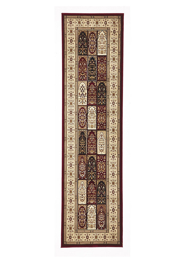 Shiraz Traditional Panel Design Runner Rug Burgundy with Ivory