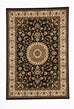 Shiraz Medallion Rug Black with Ivory Border