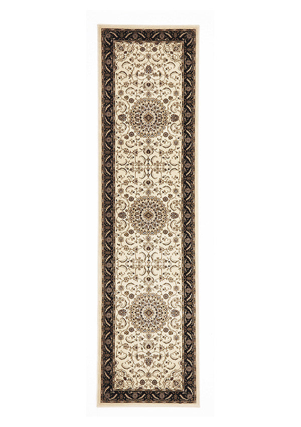 Shiraz Medallion Runner Rug Ivory with Black Border