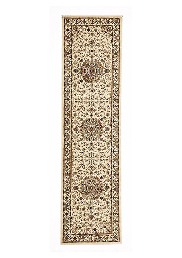 Shiraz Medallion Runner Rug Ivory with Ivory Border