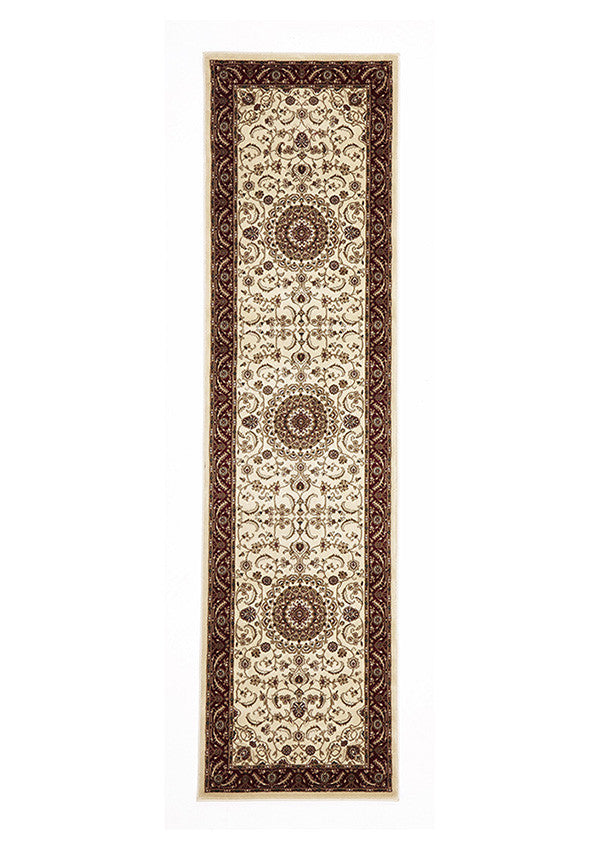 Shiraz Medallion Runner Rug Ivory with Red Border