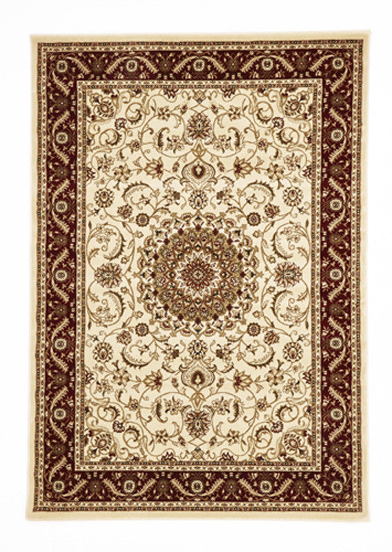 Shiraz Medallion Rug Ivory with Red Border