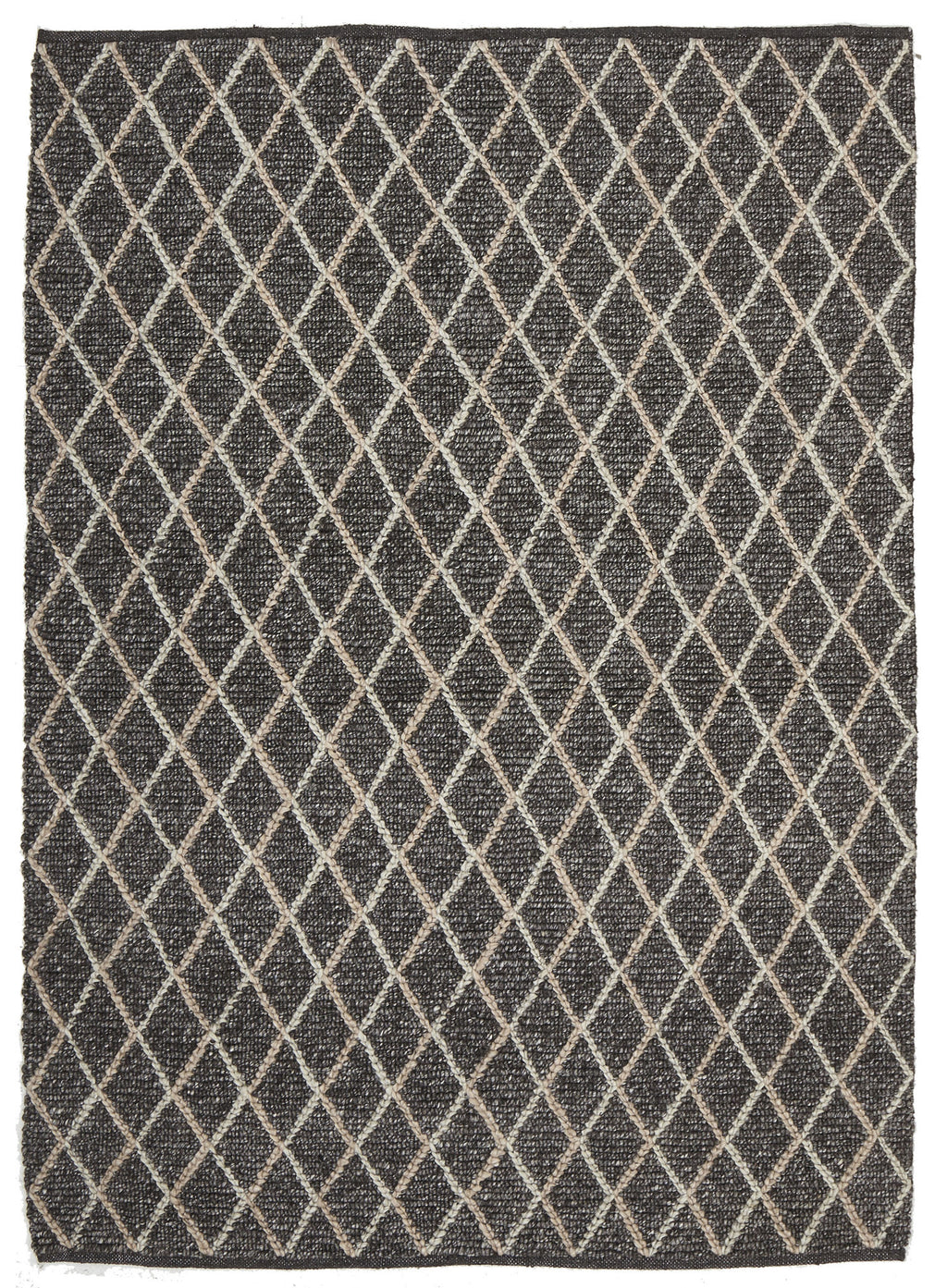 Ida Luxury Madras Felted Wool Rug Blue Charcoal