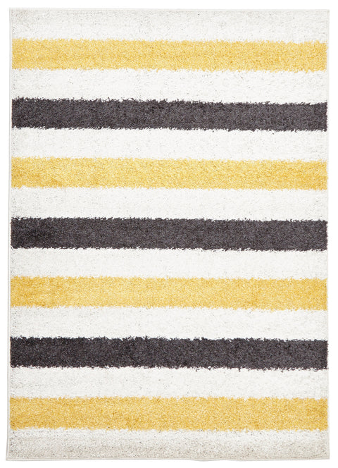 Vista Stencil Shag Rug Yellow Charcoal White