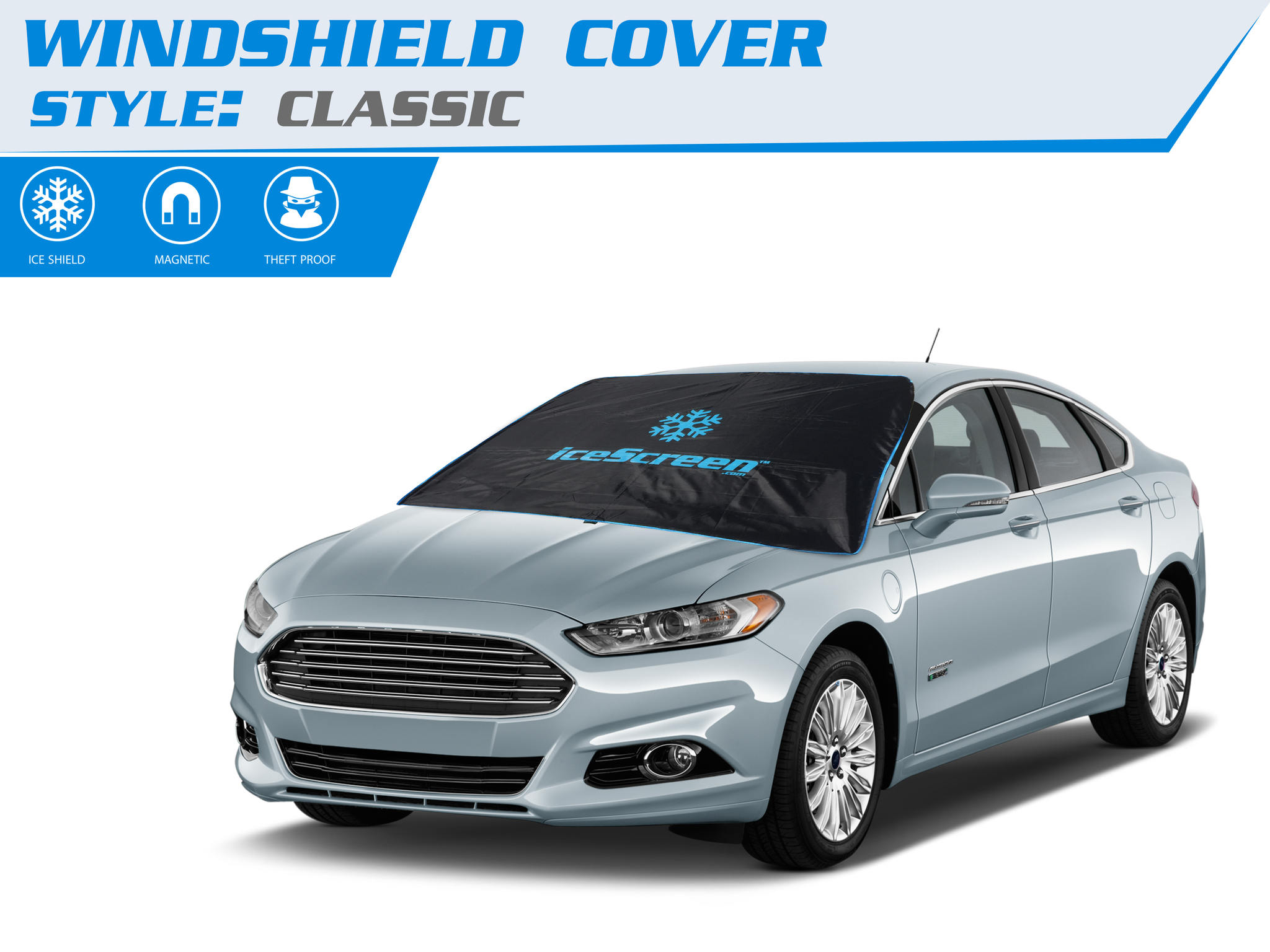 Magnetic windshield cover for snow