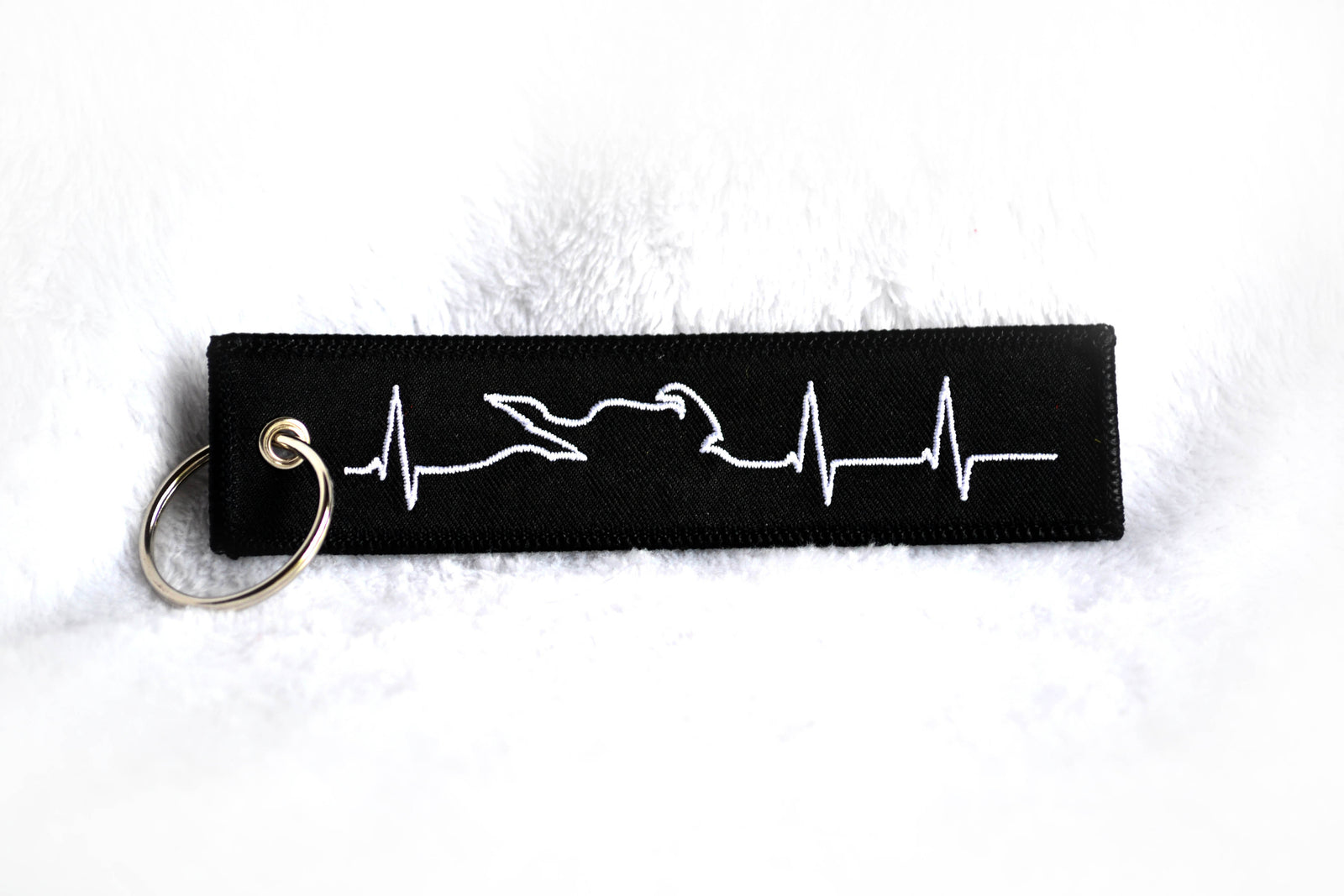 "Motorcycle ""Heartbeat"" - Embroidered Keytag"