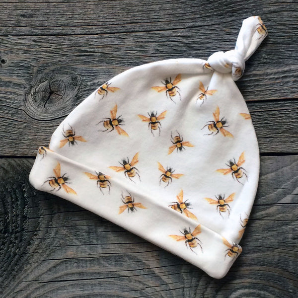 Bees Organic Knotted Baby Hat