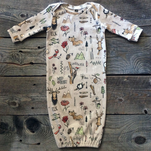 Elk and Friends Organic Cotton Gown