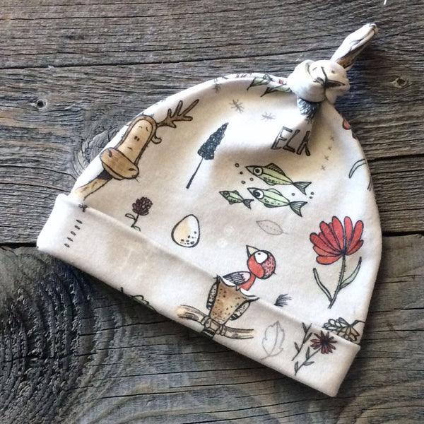 Elk and Friends Organic Knotted Baby Hat