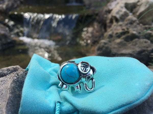 Elephant Ring with Turquoise Stone