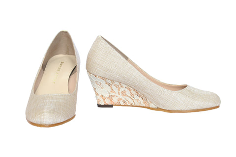 Jelly Beans - Round-Toe Lace Wedge (Nude/Beige)