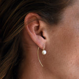 ANGELINA THREAD EARRINGS - SILVER + GENUINE PEARL - ALDIA   - 1