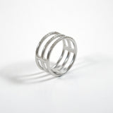 2-in-1 TRPL Band cage ring - Silver + CZ - ALDIA   - 1