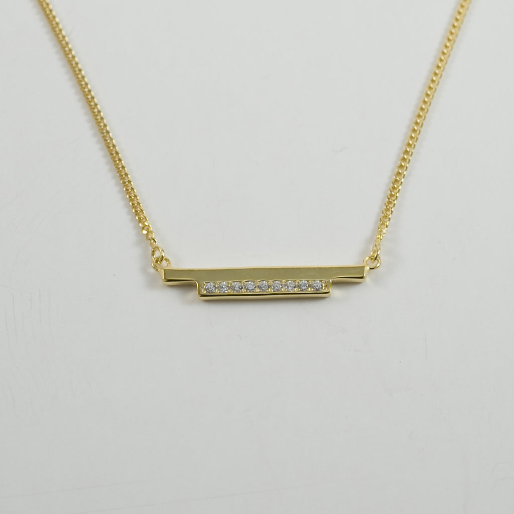 DBL Bar Necklace - SILVER + CZ