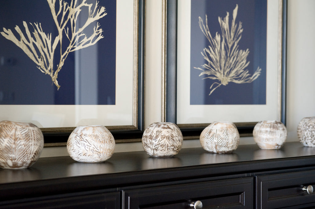 COCONUT SHELL CANDLE HOLDER CORAL