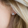 TINY TRIANGLE STUDS - 14K GOLD + PAVE WHITE DIAMONDS - ALDIA
