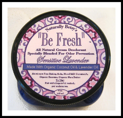 """Be Fresh"" All Natural Cream Deodorant ~ Sensitive Lavender"