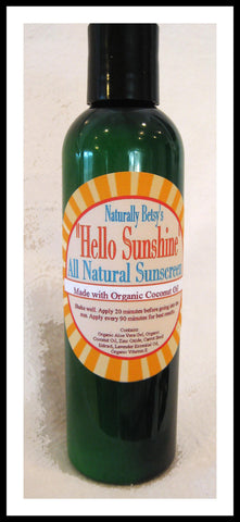 """Hello Sunshine"" All Natural Sunscreen SPF 30"