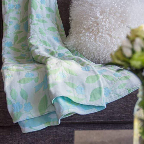 Cotton Throw by Barbara Leonard, Blue Floral - Breganwood Organics - 7