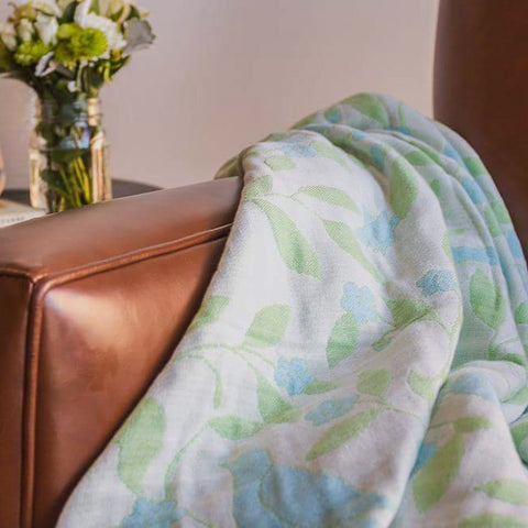 Cotton Throw by Barbara Leonard, Blue Floral - Breganwood Organics - 8