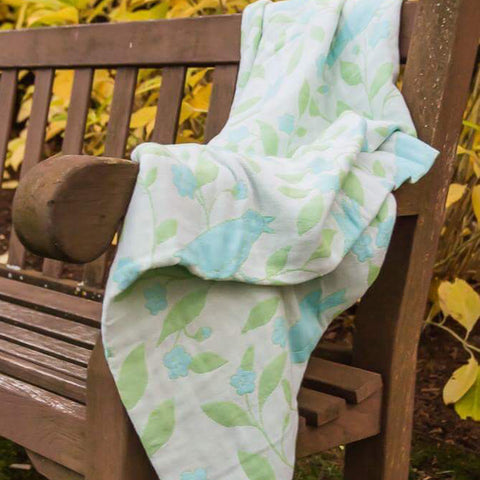 Cotton Throw by Barbara Leonard, Blue Floral - Breganwood Organics - 6