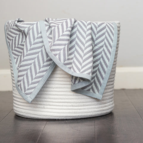 Cotton Throw/Blankets made with organically grown cotton Herringbone Grey 2