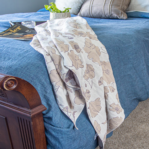 Cotton Throw Blanket made with organically grown cotton Graceland Neutral
