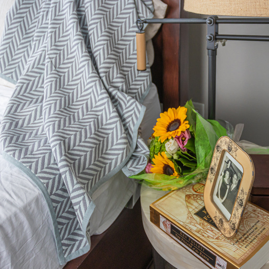 Cotton Throw/Blankets made with organically grown cotton Herringbone Grey 1