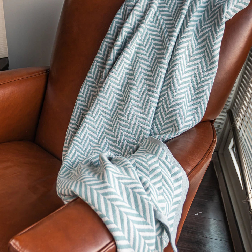 Cotton Throw/Blankets made with organically grown cotton Herringbone Sage