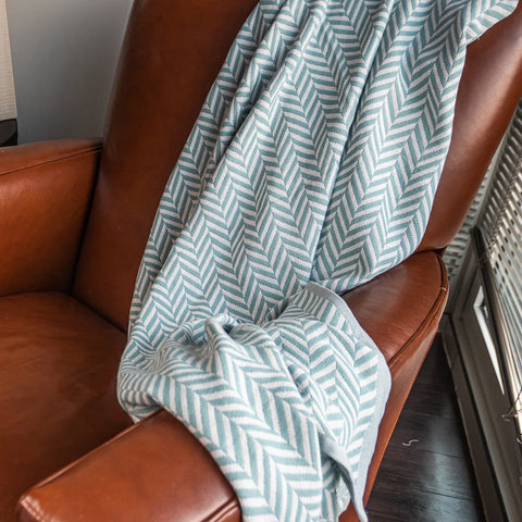 Cotton Throw/Blanket, Herringbone Sage