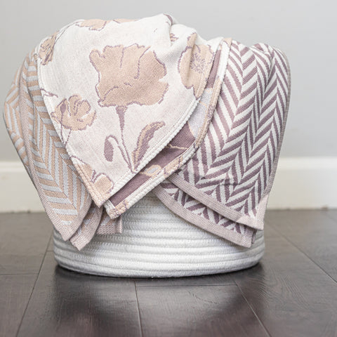 Cotton Muslin Throw Blanket, Graceland Design in Neutral 3