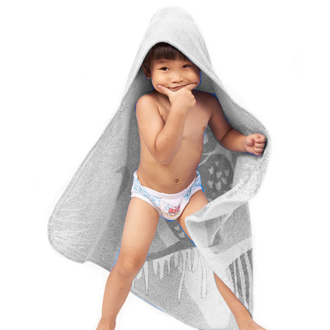 Baby Toddler Hooded Towel Grey Owl Jacquard Design 2