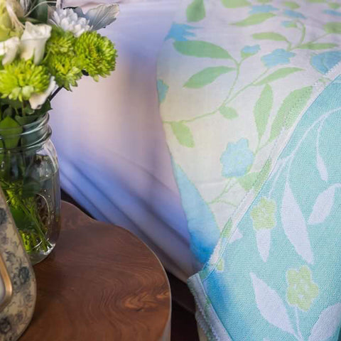 Cotton Throw by Barbara Leonard, Blue Floral - Breganwood Organics - 4