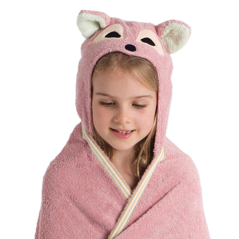 Kids Hooded Towel, The Woodland Collection Playful Fox - Breganwood Organics -3