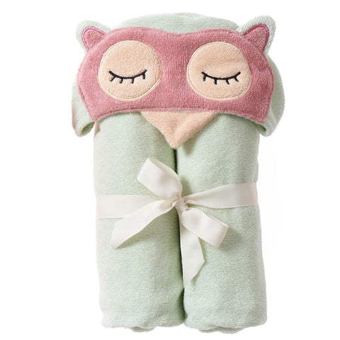Kids Hooded Towel: Woodland Collection -Sleepy Owl