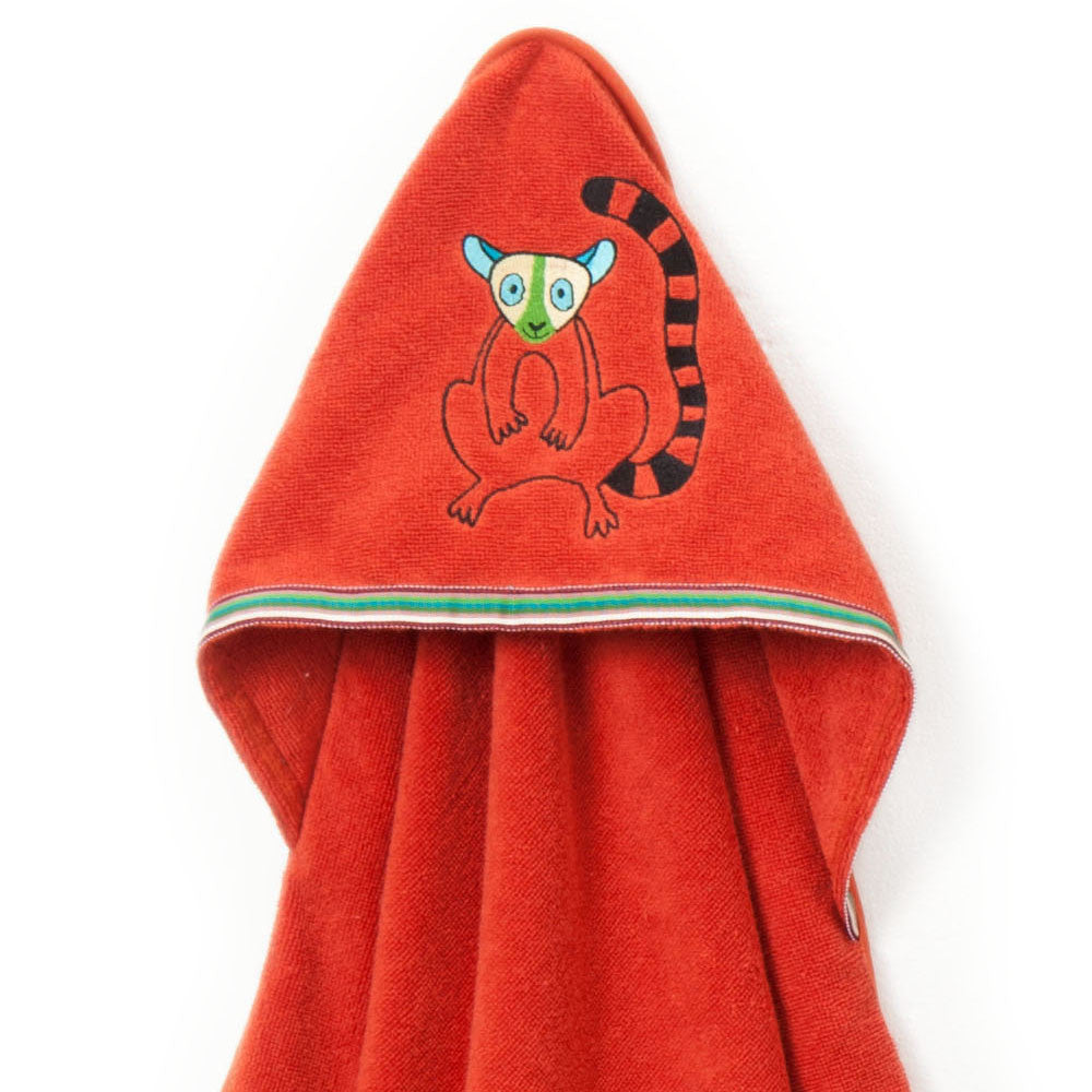 Baby & Toddler Hooded Towel: Rainforest Collection (Happy Lemur) - Breganwood Organics - 2