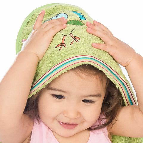 Baby & Toddler Hooded Towel: Rainforest Collection (Silly Frog) - Breganwood Organics - 6