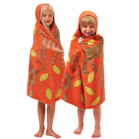 Kids Hooded Towel: Jungle Collection Classic -Orange