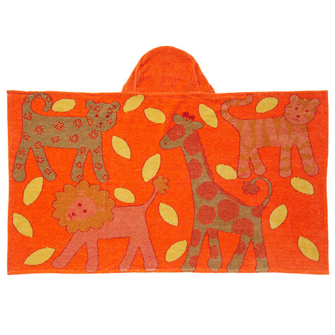 Kids Hooded Towel, Orange - Jungle Collection - Breganwood Organics - 3