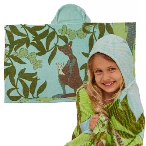 Kids Hooded Towel: Outback Collection Kangaroos -Sea Blue
