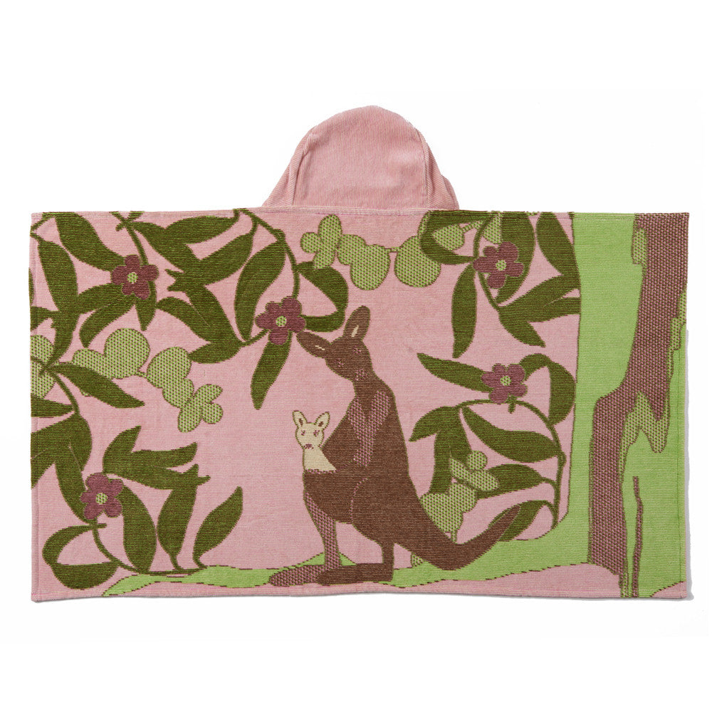Kids Hooded Towel, The Outback Collection Pale Rose Kangaroo - Breganwood Organics - 3